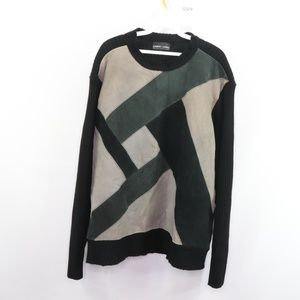 90s Suede Leather Patchwork Coogi Style Sweater XL